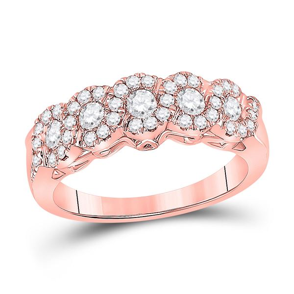 Round Diamond 5-Stone Band Ring 3/4 Cttw 14KT Rose Gold