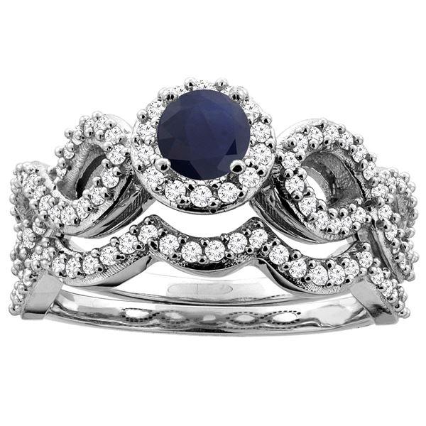1.10 CTW Blue Sapphire & Diamond Ring 14K White Gold - REF-110X5M