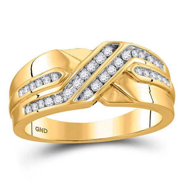 Round Diamond Diagonal Double Row Band Ring 1/4 Cttw 10KT Yellow Gold