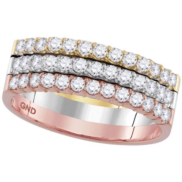 Round Diamond Triple Row Band Ring 3/4 Cttw 14KT Tri-Tone Gold