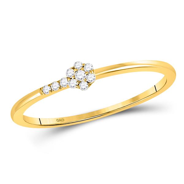 Round Diamond Flower Stackable Band Ring 1/20 Cttw 10KT Yellow Gold