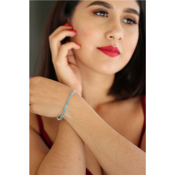 Natural 6.09 ctw Blue Diamond Eternity Tennis Bracelet 14K White Gold - REF-395F2N
