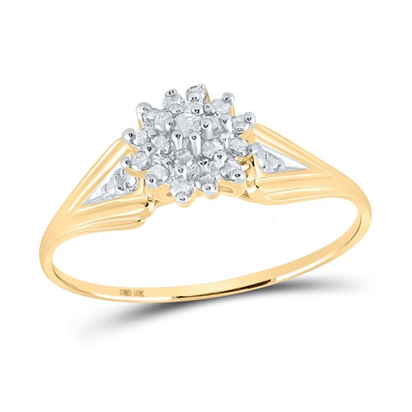 Round Diamond Cluster Ring 1/10 Cttw 10KT Yellow Gold