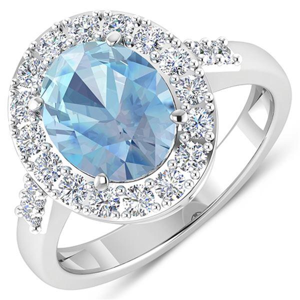 Natural 2.5 CTW Aquamarine & Diamond Ring 14K White Gold - REF-94F5N