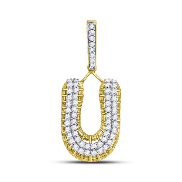 Round Diamond U Letter Charm Pendant 1-1/4 Cttw 10KT Yellow Gold