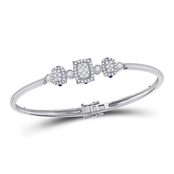 Round Diamond Triple Cluster Bangle Bracelet 7/8 Cttw 14KT White Gold