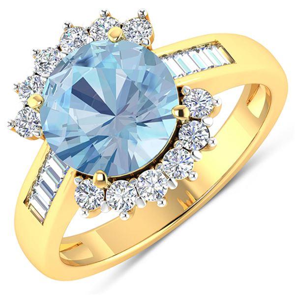 Natural 3.48 CTW Aquamarine & Diamond Ring 14K Yellow Gold - REF-108F7N