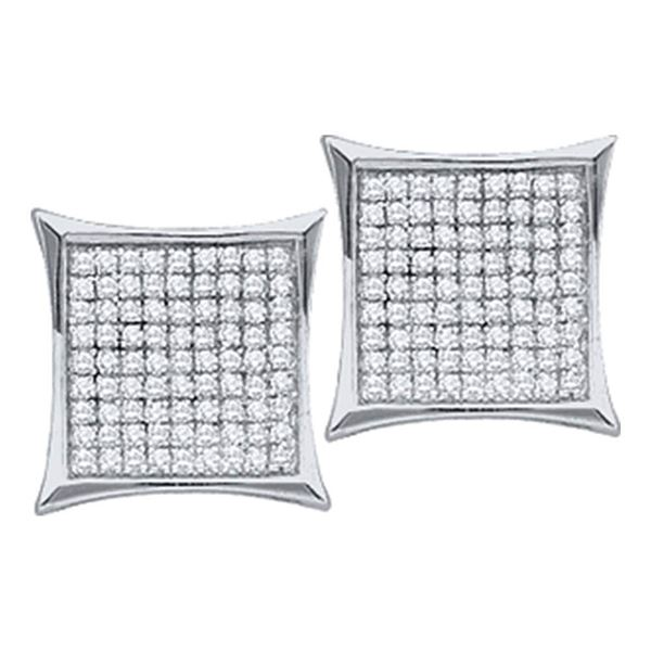 Round Diamond Square Cluster Earrings 1/6 Cttw 10KT White Gold