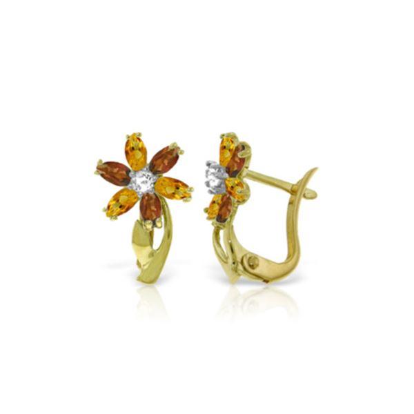Genuine 1.10 ctw Citrine, Garnet & Diamond Earrings 14KT Yellow Gold - REF-36P3H