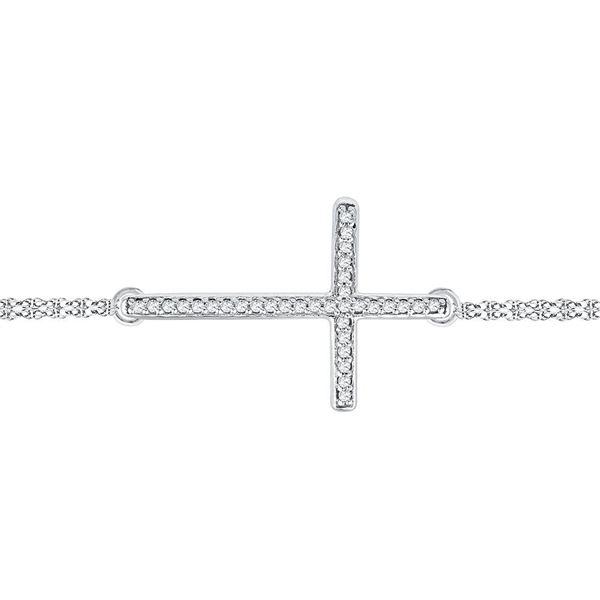 Round Diamond Sideways Cross Bracelet 1/10 Cttw 10KT White Gold