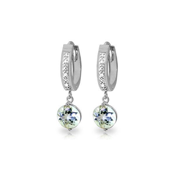 Genuine 2.28 ctw Aquamarine & Diamond Earrings 14KT White Gold - REF-56T2A