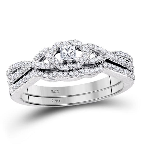 Bridal Wedding Ring Band Set 1/3 Cttw 10KT White Gold