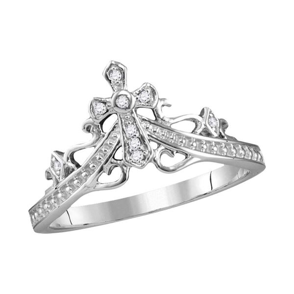Round Diamond Cross Crown Tiara Band Ring 1/20 Cttw 14KT White Gold