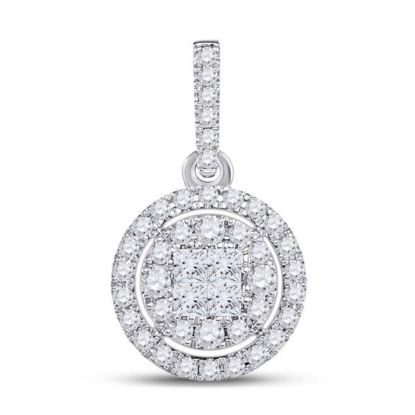 Princess Diamond Fashion Halo Cluster Pendant 1/2 Cttw 14KT White Gold