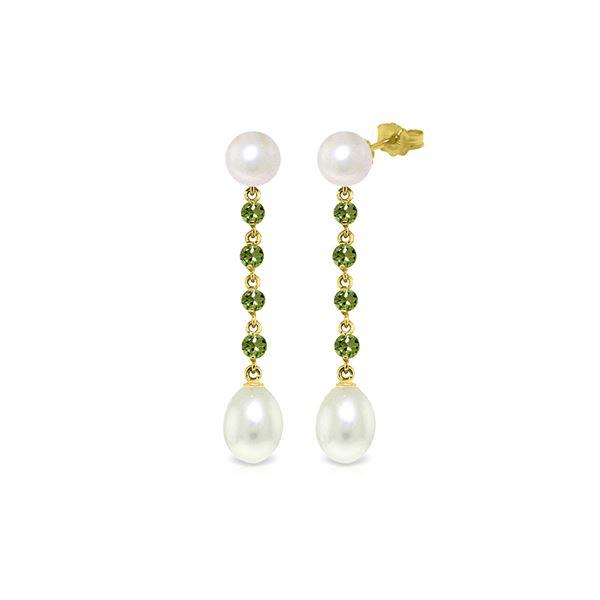 Genuine 11 ctw Pearl & Peridot Earrings 14KT Yellow Gold - REF-28R8P