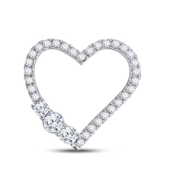 Round Diamond 3-Stone Heart Pendant 1 Cttw 14KT White Gold