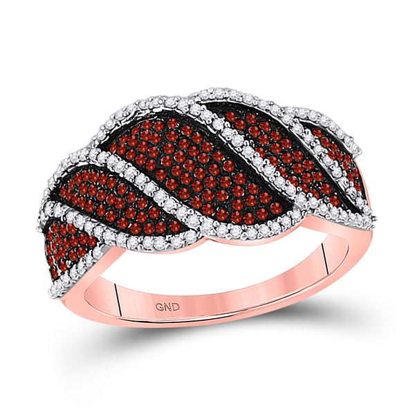 Round Red Color Enhanced Diamond Striped Band Ring 3/4 Cttw 10KT Rose Gold
