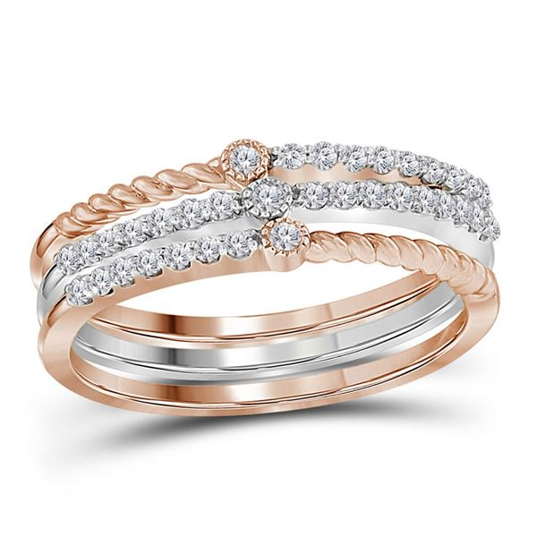 Round Diamond Stackable Band Set 1/4 Cttw 10KT Two-tone Gold