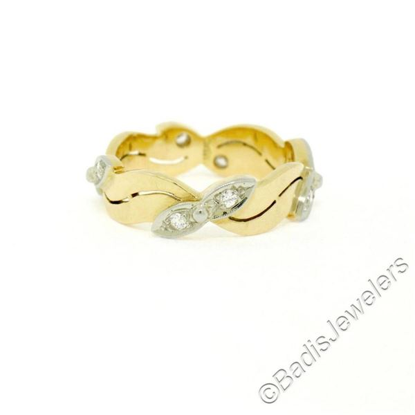Antique 14kt Yellow and White Gold 0.28 ctw European Diamond Wave Eternity Band