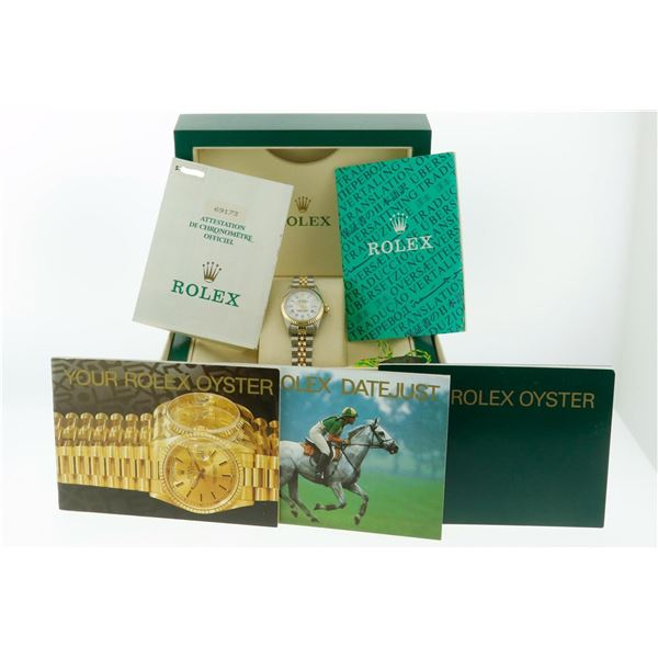 Rolex Datejust 26 Original Rare White Roman Diamond Box & Papers Complete Set