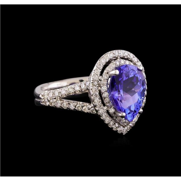 3.15 ctw Tanzanite and Diamond Ring - 14KT White Gold