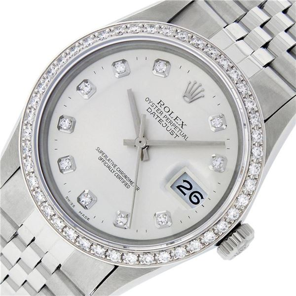 Rolex Mens Stainless Steel Silver Diamond 36MM Oyster Perpetual Datejust Wristwa