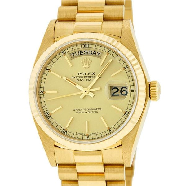 Rolex Mens 18K Yellow Gold Champagne Index Quickset President Wristwatch With Ro