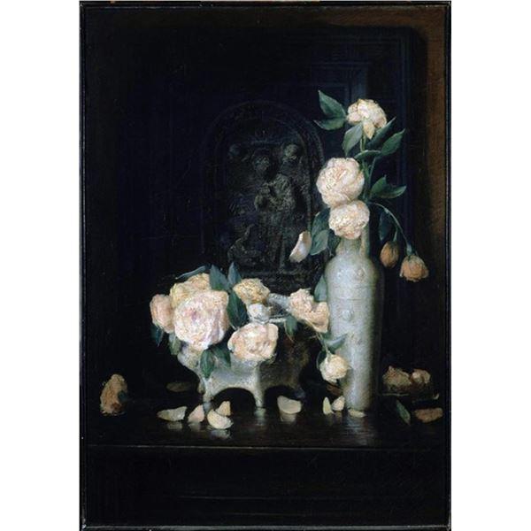 John Ferguson Weir - Vase of Roses