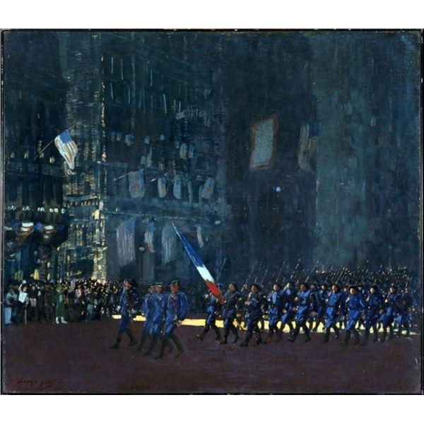 George Luks - Blue Devils on Fifth Avenue