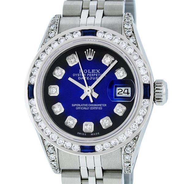 Rolex Ladies Stainless Steel Blue Vignette Diamond Lugs & Sapphire Datejust Wris