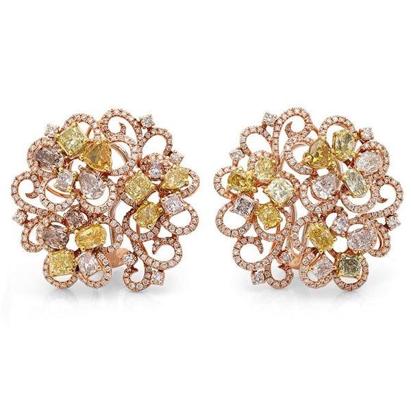 18k Three Tone Gold 7.72CTW Diamond, Pink Diamond and Multicolor Dia Earrings, (