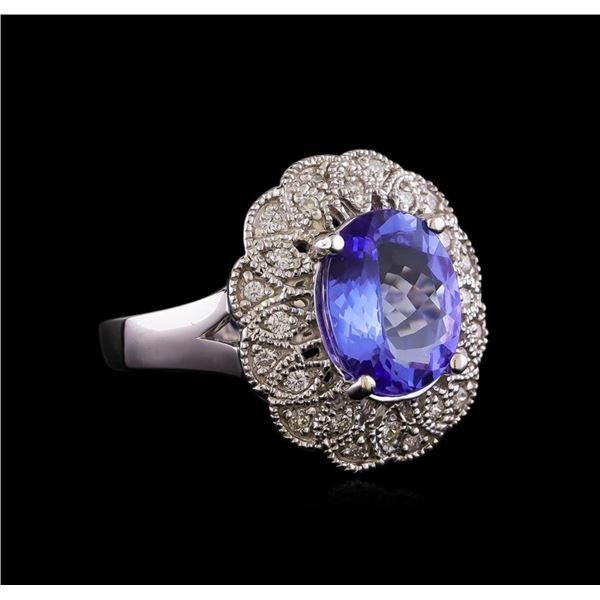 3.28 ctw Tanzanite and Diamond Ring - 14KT White Gold