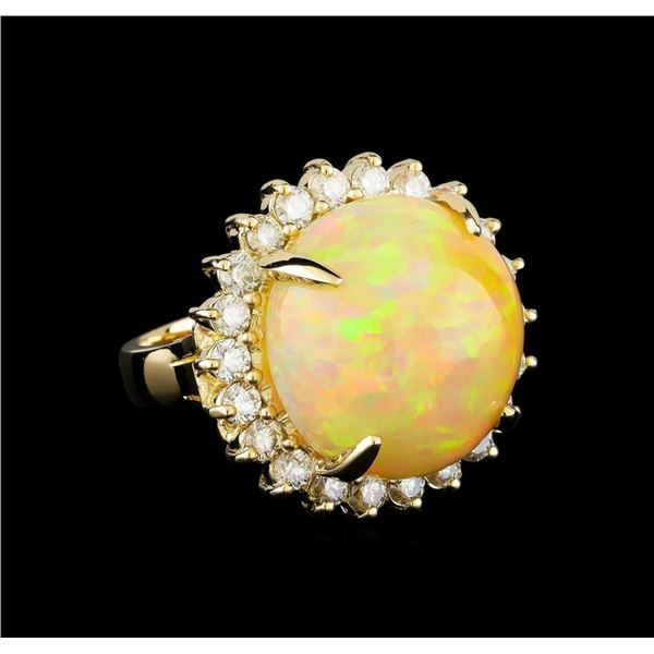19.85 ctw Opal and Diamond Ring - 14KT Yellow Gold
