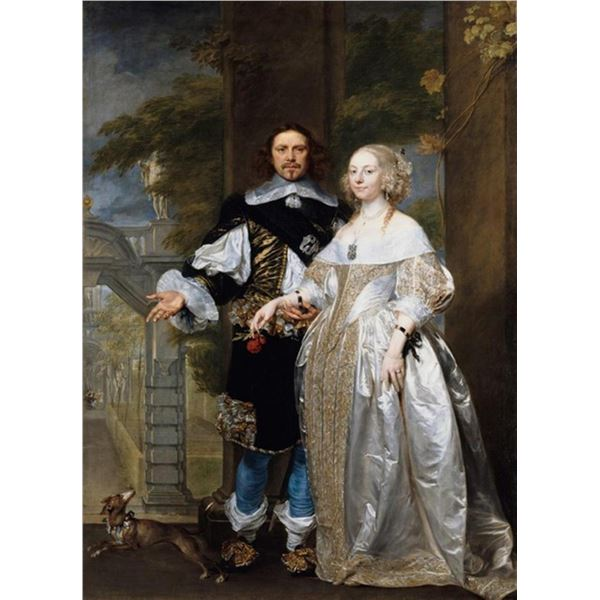 Gonzales Coques -Portrait of a Married Couple in the Park