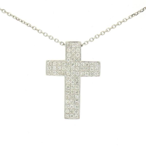 """14K White Gold 0.51 ctw Micro Pave Diamond Cross Pendant w/ 18"""" Cable Link Chain"""