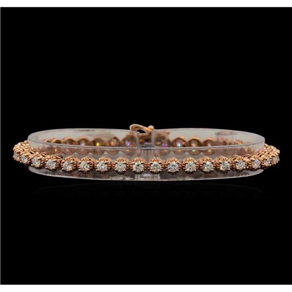 14KT Rose Gold 3.28 ctw Diamond Tennis Bracelet
