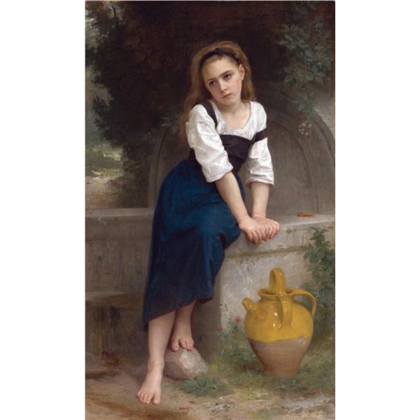 William Bouguereau  - Orphan by the Fountain (1883)