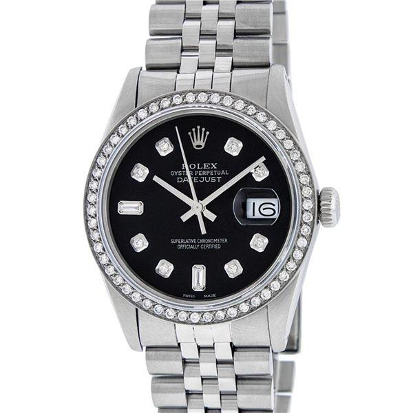 Rolex Mens Stainless Steel Black Diamond 36MM Datejust Wristwatch Oyster Perpetu