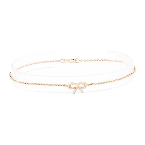 0.10 ctw Diamond Bow-Motif Bracelet - 14KT Rose Gold