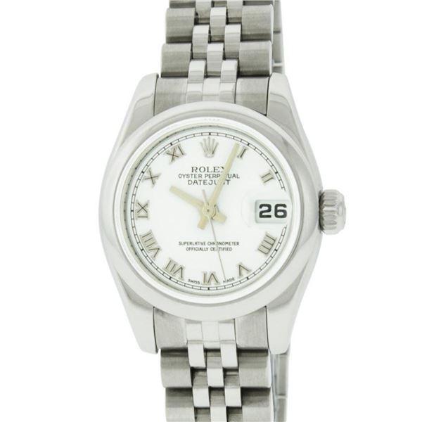 Rolex Ladies Stainless Steel White Roman Quickset Datejust 26MM Wristwatch