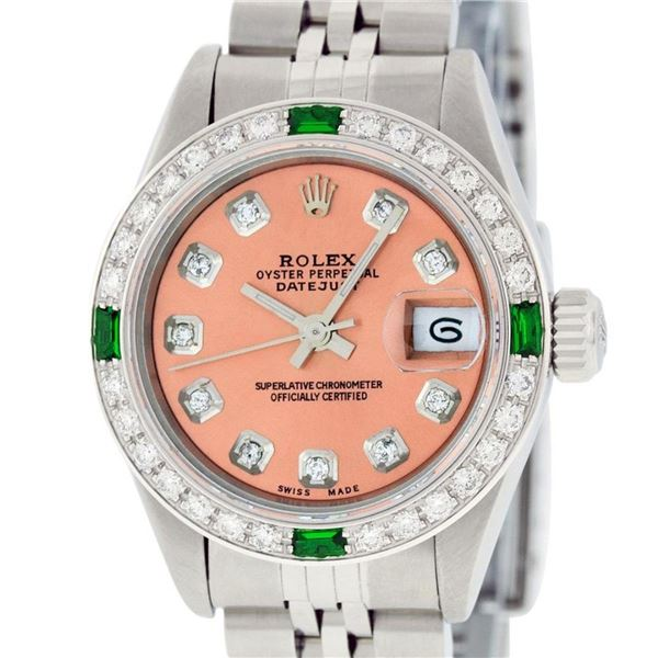 Rolex Ladies Stainless Steel Quickset Salmon Diamond & Emerald Oyster Perpetual