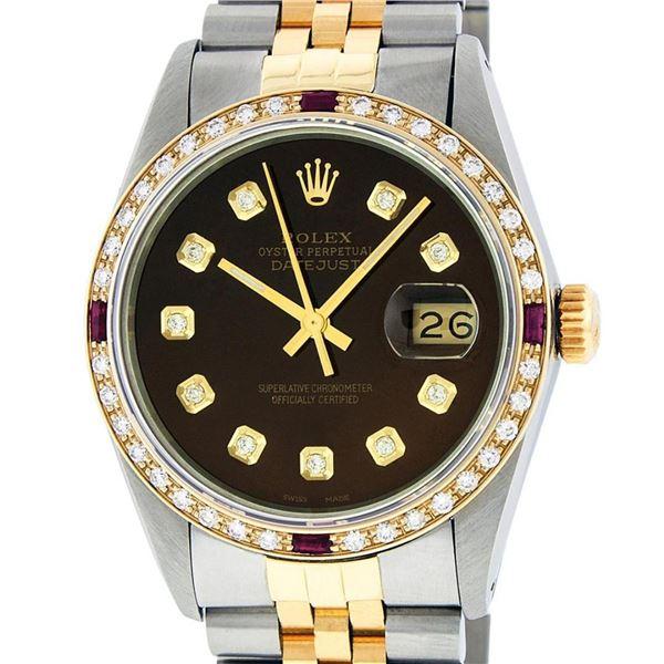 Rolex Mens 2 Tone Brown Diamond & Ruby 36MM Datejust Wristwatch