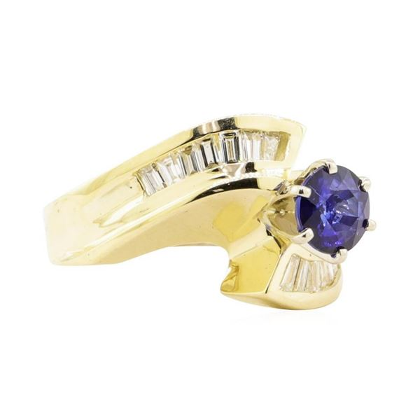 1.51 ctw Blue Sapphire And Diamond Ring - 14KT Yellow Gold