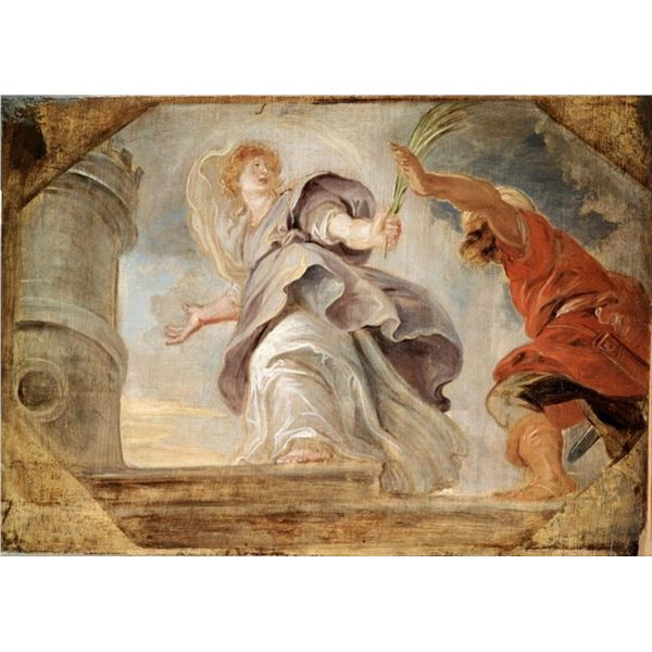 Sir Peter Paul Rubens - Saint Barbara Fleeing from her Father