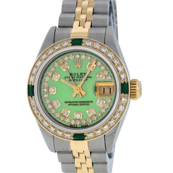 Rolex Ladies 2 Tone 18K Gold Bezel Green String Diamond & Emerald Datejust Wrisw