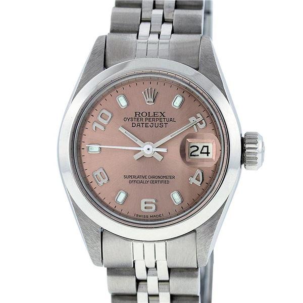 Rolex Ladies Stainless Steel Salmon Dial 26MM Datejust Wristwatch Oyster Perpetu