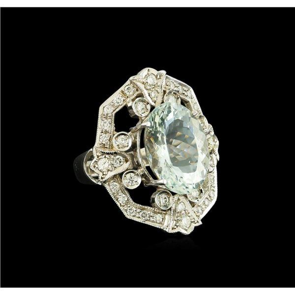7.07 ctw Aquamarine and Diamond Ring - 14KT White Gold