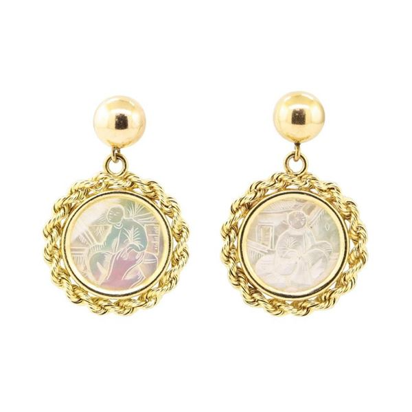 Mother of Pearl Coin Earrings - 14KT Yellow Gold