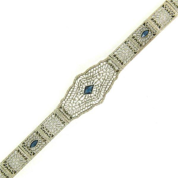 "Antique Art Deco 10k White Gold 7"" Wide Marquise Filigree & Sapphire Bracelet"