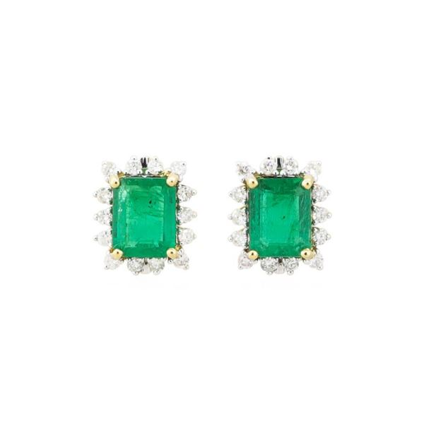 4.18 ctw Emerald and Diamond Earrings - 18KT Yellow Gold